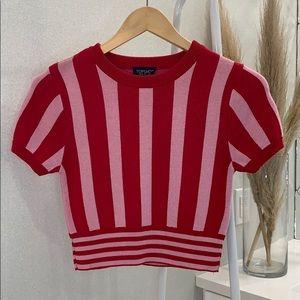 Topshop Stripe Crop Knit T-Shirt